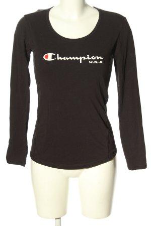 Champion Koszulka z długim rękawem czarny-biały Wydrukowane logo