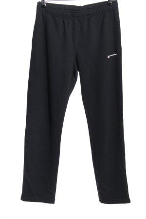 Champion Spodnie sportowe czarny-biały Wyhaftowany logo W stylu casual