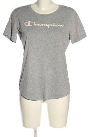 Champion Koszulka z dzianiny jasnoszary-biały Wydrukowane logo W stylu casual