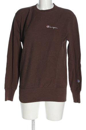 Champion Sweatshirt brun-blanc lettrage imprimé style décontracté