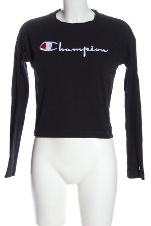 Champion Sweatshirt schwarz-weiß Schriftzug gestickt Casual-Look
