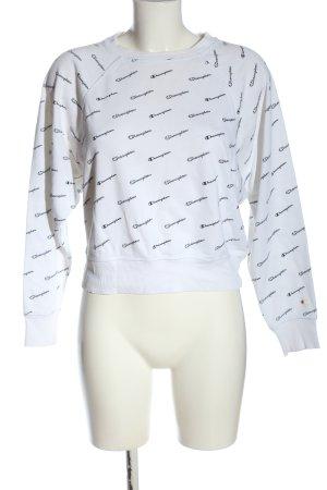 Champion Sweatshirt weiß-schwarz Schriftzug gedruckt Casual-Look