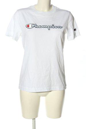 Champion T-shirt biały Wydrukowane logo W stylu casual
