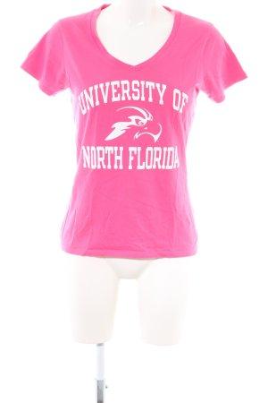 Champion T-Shirt pink-weiß Schriftzug gedruckt Casual-Look