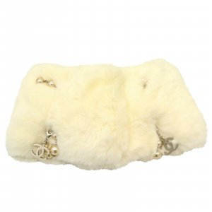 Chanel Knitted Scarf white fur