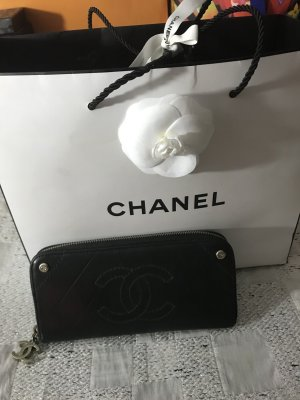 Chanel Wallet black-silver-colored leather