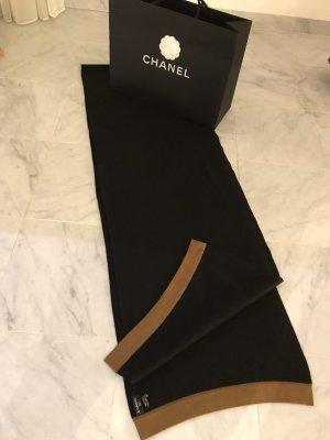 Chanel Sciarpa di lana color cammello-nero