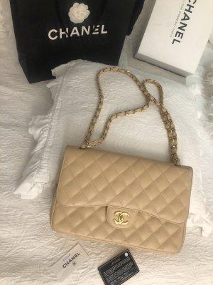 Chanel Bag Double Flap Caviar Beige Jumbo Gold