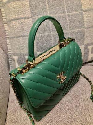 Chanel Borsa con manico verde bosco Pelle