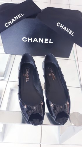 Chanel Patent Leather Ballerinas black-silver-colored