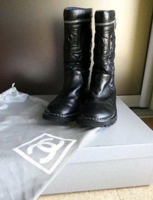 Chanel Boots Stiefel Leder gesteppt biker 37 schwarz Classic wonderland