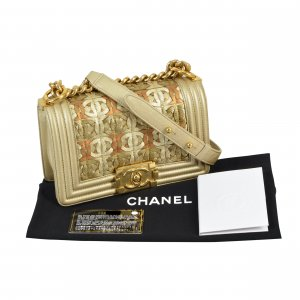 CHANEL Boy Bag Small Dubai Collection Gold Beige @mylovelyboutique.com