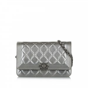 Chanel Crossbody bag silver-colored leather