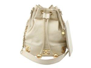 Chanel Sac porté épaule crème cuir