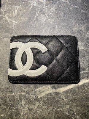 Chanel Porte-cartes noir-blanc cuir