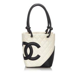 Chanel Bolso de compra blanco Cuero