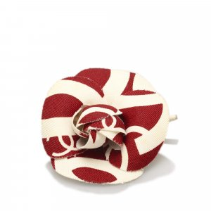 Chanel Brooch red cotton