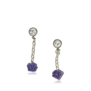 Chanel Boucle d'oreille violet métal