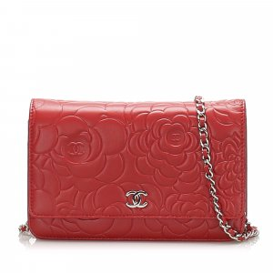 Chanel Camellia Lambskin Leather Wallet on Chain