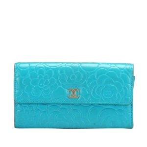 Chanel Portmonetka jasnoniebieski Skóra