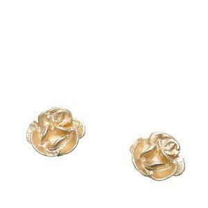 Chanel Camellia Push Back Earrings