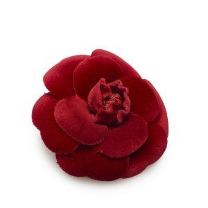 Chanel Broche bordeau coton