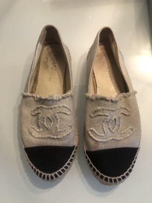 Chanel Canvas Espadrilles Leinen Beige Weiß Mules Slipper