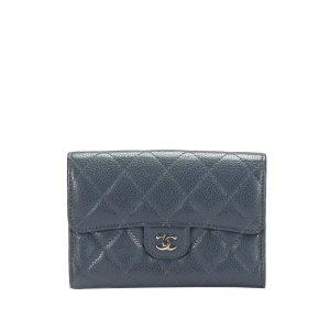 Chanel Etui na karty niebieski Skóra
