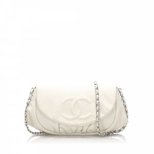 Chanel Caviar Leather Half Moon Wallet on Chain
