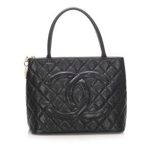 Chanel Caviar Medallion Leather Tote Bag