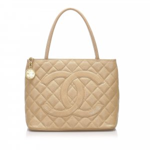 Chanel Caviar Medallion Leather Tote Bag