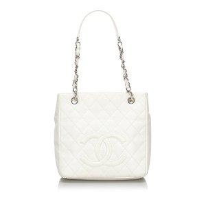 Chanel Bolsa de hombro blanco Cuero