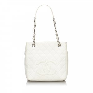 Chanel Shoulder Bag white leather