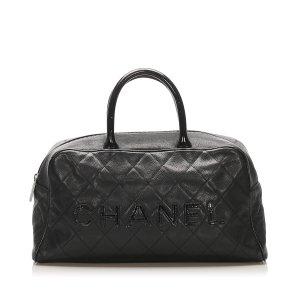 Chanel Reistas zwart Leer
