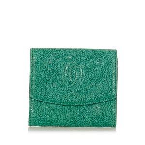 Chanel Portemonnee groen Leer