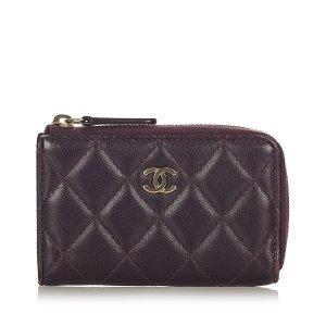 Chanel Wallet purple leather