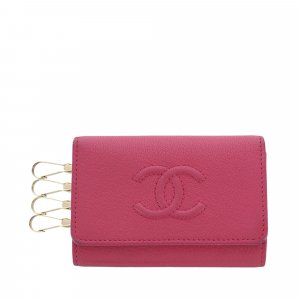 Chanel Etui na klucze różany Skóra