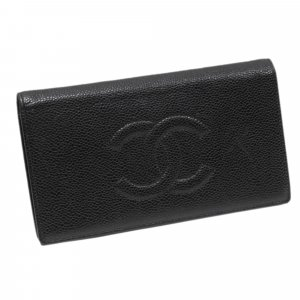 Chanel CC Caviar Leather Long Wallet