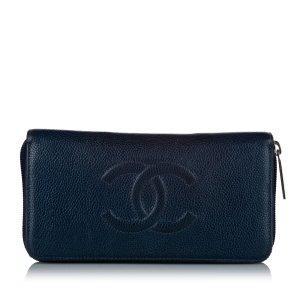 Chanel Portmonetka niebieski Skóra