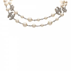 Chanel CC Crystal Faux Pearl Long Necklace