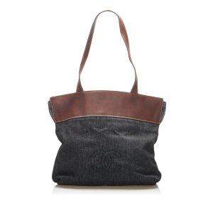 Chanel Bolso de compra gris oscuro Algodón