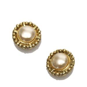 Chanel CC Faux Pearl Clip-On Earrings