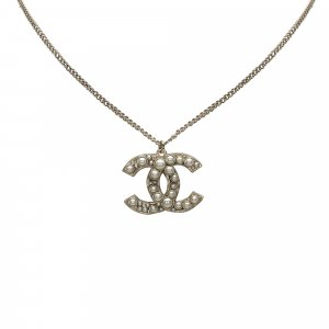 Chanel CC Faux Pearl Pendant Necklace