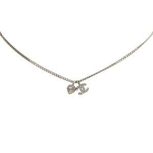 Chanel CC Heart Rhinestones Pendant Necklace