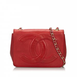 Chanel Crossbody bag red leather