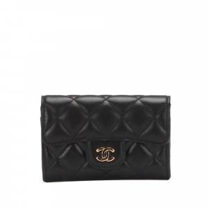 Chanel Card Case black leather