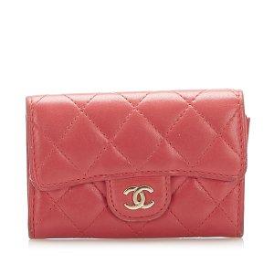 Chanel Tarjetero rojo Cuero