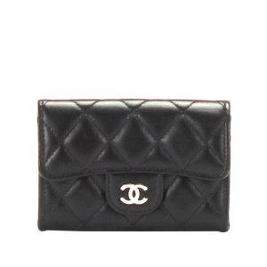 Chanel Etui na karty czarny Skóra