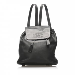 Chanel CC Lambskin Leather Drawstring Backpack