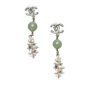 Chanel CC Leaf Drop Earrings